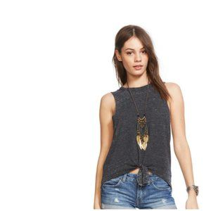 Chaser Tie Front Muscle Tee Vintage Black